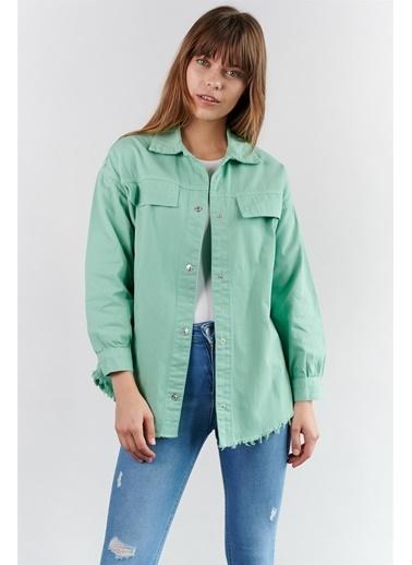 Levure Oversize Kot Gömlek  Yeşil